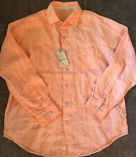 Caribbean Mens Linen/Cotton Long Sleeve Orange Plaids & Checks Size L XL NWT