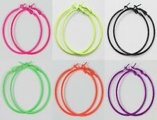 Wholesale 12Pcs Fluorescence Circle Basketball Wives Loop Hoop Earrings 20-90mm