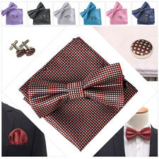 Men Tuxedo Silk Checks Pre-Tied Bowtie Hanky Cufflinks Set Wedding Bow Tie
