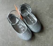 Size 4 shoes Gymboree,Holiday Gems,silver glitter T-strap ballet flats,toddler