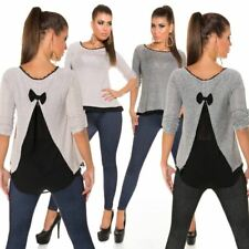 KouCla Open Back Jumper High Low Sweater With Mesh Panel Pullover Top