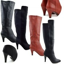 Womens New Mid High Heel Boots Ladies Knee High Black , Red Winter Riding Boots