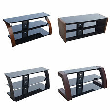 "Glass Wood TV Stand Cabinet Unit with for 32""- 65"" inch Lcd Led Plasma Tv"