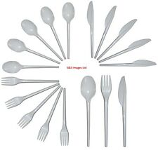 Disposable Plastic Strong Spoons Fork Knives Cutlery Set 100 Party Wedding Party