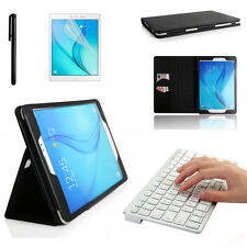 Bluetooth Keyboard + Smart Genuine Leather Case Cover Samsung Galaxy Tab A T350
