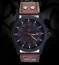 Men's Leather Strap Military Watches Stainless Steel Analog Quartz Wrist Watch