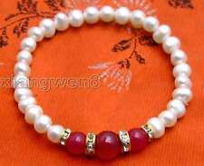 """SALE white 6-7mm  Natural Pearl and rose pink Round jade 7.5"""" bracelet-bra288"""