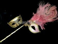 Baby Pink Masquerade stick mask pair burlesque birthday costume dance party prom