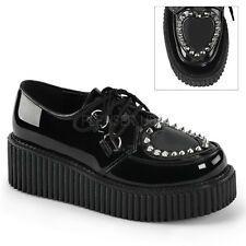 """Demonia Black 2"""" Platform Creepers Shoes with Heart & Studs 6 7 8 9 10 11"""