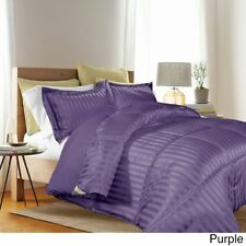 Down Alternative Comforter Set Reversible 3Pc Stripe Solid Shams King Full/Queen