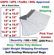 Pick Mix Combo 200(100+100) Poly Mailers Shipping Envelopes Plastic Mailing Bags
