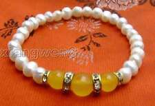 "SALE Beautiful  6-7mm white Pearl and Round Yellow jade 7.5"" bracelet -bra293"