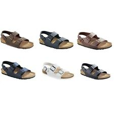 Birkenstock Milano Sandals Birko-Flor - white brown black blue - regular narrow
