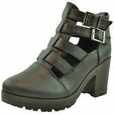 Womens Cut Out Ankle Boots Buckles Chunky High Heel Rubber sole Booties black