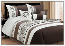 Chocolate Off White Embroid. 7pc* KING QUEEN Comforter Set + Valance +3 Cushion