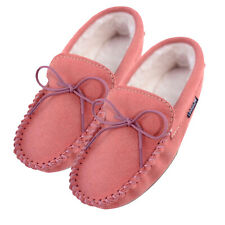 Lambland Ladies Suede Sheepskin Moccasin Slippers with PVC Sole - Pink