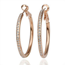 Womens Gracious Sparking 18K Gold Plated GP Crystal Circle Hoop Earrings Jewelry