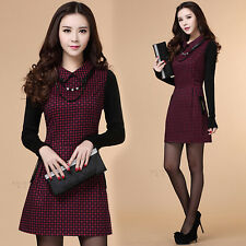 Elegant Womens Autumn Winter Woolen Gird POLO Collar Long Sleeve Slim Mini Dress