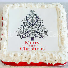 """Christmas Tree Cake Topper - 7.5"""" Square - Icing or Wafer"""