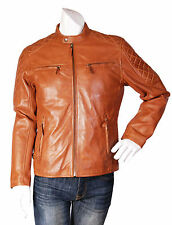 Mens fitted Biker leather jacket NEW gents quilted casual ZIP UP COAT TAN Owen