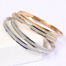 Elegant Women Gold/Silver Plated Scrub Shiny Wristband Bangle Plain Bracelet