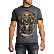 Mens AFFLICTION Shirt Indian Skull TAMAHAWK Grey S M L XL 2XL 3XL A11596 NWT NEW