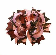 4-Layer Pink Camo Boutique Hair Bow