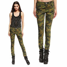 Anladia Womens Camo Army Cargo Pencil Pants Skinny Jeans Faded Trouser Green