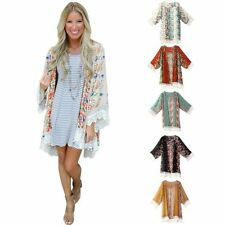 Women's Retro Tassels Kimono Cardigan Shirt Cover Up Floral Colorful Blouse Top