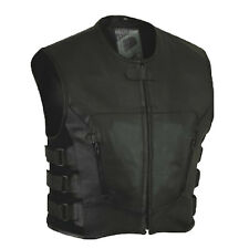 NEW LEATHER Vest COWL MOTORCYCLE BIKER vest gilet en cuir CHOPPER vest