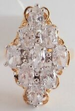 18K GOLD EP 4CT DIAMOND SIMULATED CLUSTER RING size 7-8 you choose