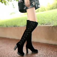 Womens sexy lace-up Party dress Thick high heel Shoe Suede over knee long boots