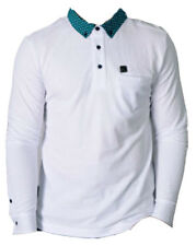 MENS VOI JEANS LONG SLEEVE POLO SHIRT STYLE VINCE PATTERN ON COLLAR - WHITE
