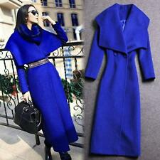 NEW Women's Wool Blend Outwear Casual Warm Jacket Large Lapel Collar Trench Coat