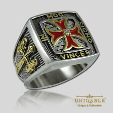 UNIQABLE KNIGHTS TEMPLAR STERLING SILVER 925 MASONIC GOLD PLD FREEMASON RING
