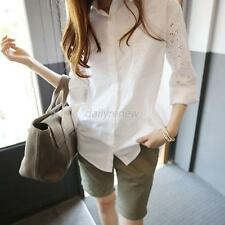 Women's Cotton OL T Shirt Hollow Long Sleeve Turn-down Collar Button Blouse Tops