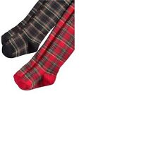 NWT Ralph Lauren Baby Girls' Holiday Plaid Tights Red or Black 6-12 Months