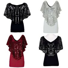 Sequin Women's Sparkle Glitter Tank Short sleeve Top T-Shirt Blouse Clothing D69