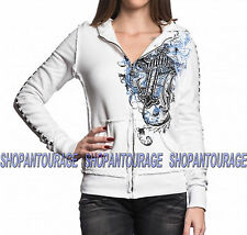 SINFUL Binded Heart S3683 New Women`s White Zip Hoodie By Affliction
