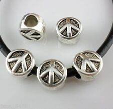 6/30/220pcs Tibetan Silver Hole 4.5mm Peace Sign Spacer Beads DIY