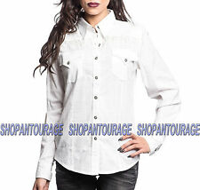 Affliction Warrior 111WV112 Women`s New White Button-Down Shirt
