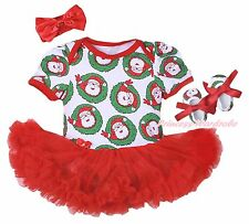 Christmas Plain Santa Claus Bodysuit Girls Red Baby Dress Outfit Shoes NB-18M