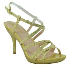 Womens Dress Sandals Rhinestones Strappy front Slingback Buckles Open Toe Gold