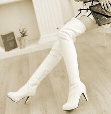 16 Winter Womens shoes cuffed high heel sexy over the knee thigh high boots New