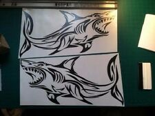 2 Tribal Shark boat Decals large fish Fishing graphics big sticker sailboat