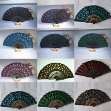 Nice Embroidered Peacock Tail Folding Sequins Hand Held Fan Party Wedding Decor