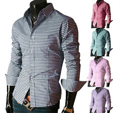 New Summer Fashion Brand Men Clothes Slim Fit Long Sleeve Shirt Plaid Casual