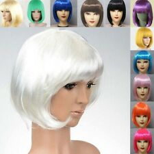 Bob Short Straight Synthetic Bangs Lady Cosplay Party Womens Hair Full Wig  S78