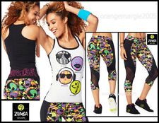 "ZUMBA 2 PIECE SET! CARGO Capri PANTS & Top Shirt RACERBACK ""Outta My Space"" -  L"