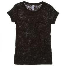 Ladies Burn-Out Short Sleeve T-Shirt Capped Sleeves Retail Fit Womens Top UK